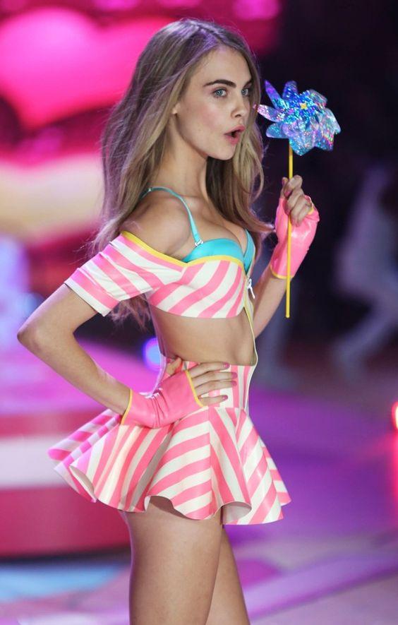 Supermodel Cara Delevingne rocking candy stripes at the Victoria's ...