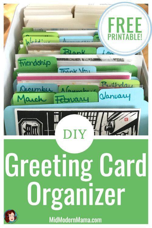 Diy Card Organizer Mid Modern Mama Greeting Card Storage Greeting Card Organizer Card Organizer