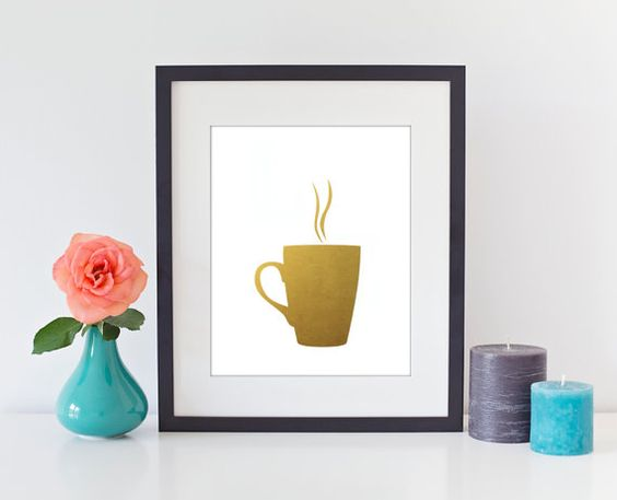 Coffee+Cup+Faux+Gold+Foil+Art+Print++Gilded+Office+by+BySamantha,+$9.00
