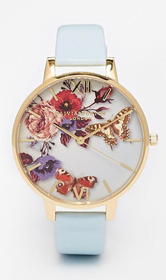 Olivia Burton Enchanted Garden Floral Face Leather Strap Oversize Dial Watch