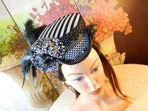 Viktorianischer Mini Hut schwarz weiß Damenhut Hat