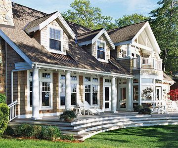 The guest guest rooms and front porches on pinterest for Houses with dormers and front porch