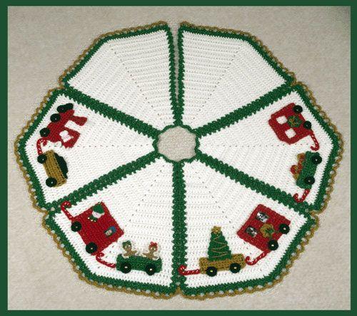 Crochet Christmas Tree Skirt Pattern - North Pole Express Tree Skirt