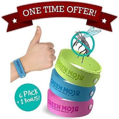 Natural Mosquito Repellent Bracelet By Green Mojo 100% - 6 + 1 - No DEET  NEW