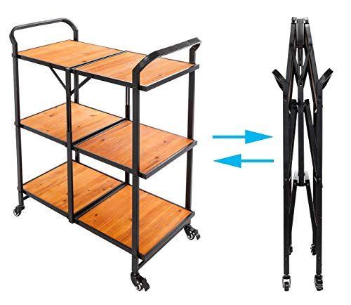 Raercodia 3 Tier Storage Cart On Wheels Utility Cart Iron Wood Foldable Multi Functional Serving Cart For Kitchen Pantry Bathr Wood Storage Cart Utility Cart
