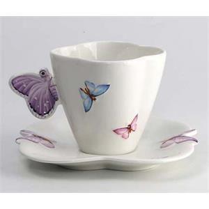 Xícara chá cerâmica 1155 - 6 peças borboletas Wolff