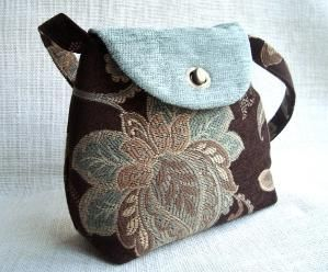 Handmade Tapestry Fabric Brown and Emerald Handbag by Volatil Bags, by janice