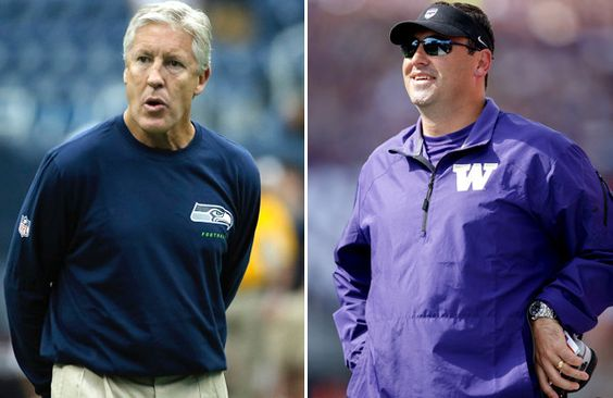 Coaches Pete Carroll of the Seahawks and Steve Sarkisian of Washington share the landscape in Seattle.