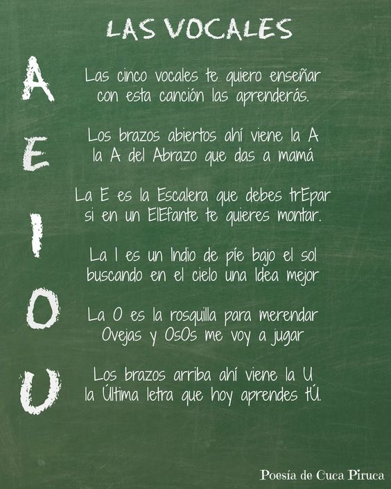Cuca Piruca: Las cinco vocales Poesias personalizadas