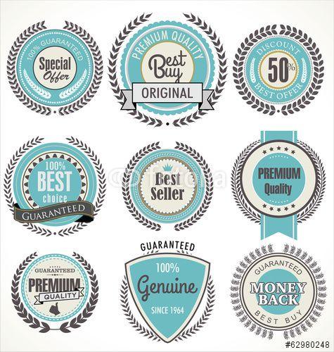 Vector: Premium quality blue labels