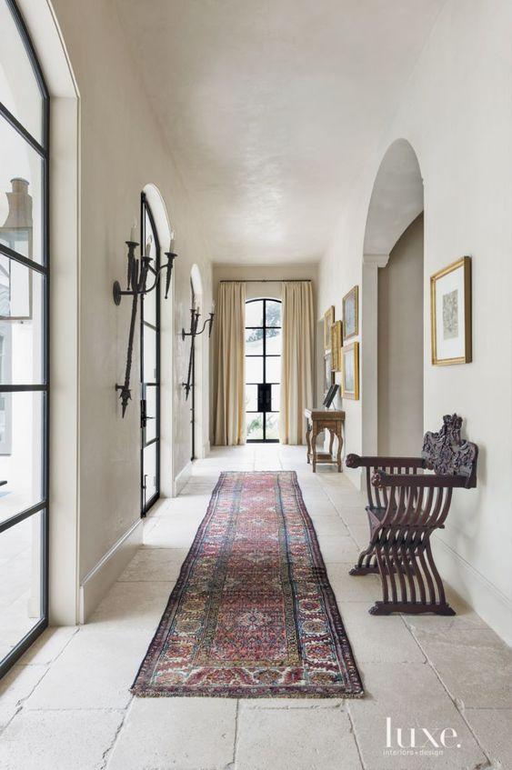 Mediterranean Cream Tiled Hallway: