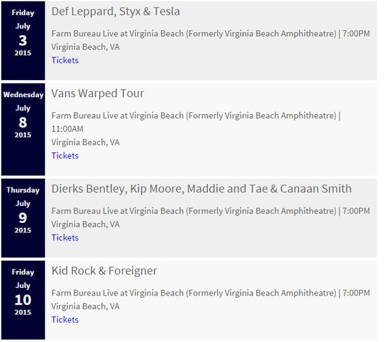 Virginia Beach Concerts - 2015 Virginia Beach Music Events