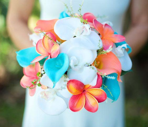 Mariage Orange corail et Turquoise Teal touche naturelle orchidées, Callas et Plumerias soie fleur Bouquet mariée