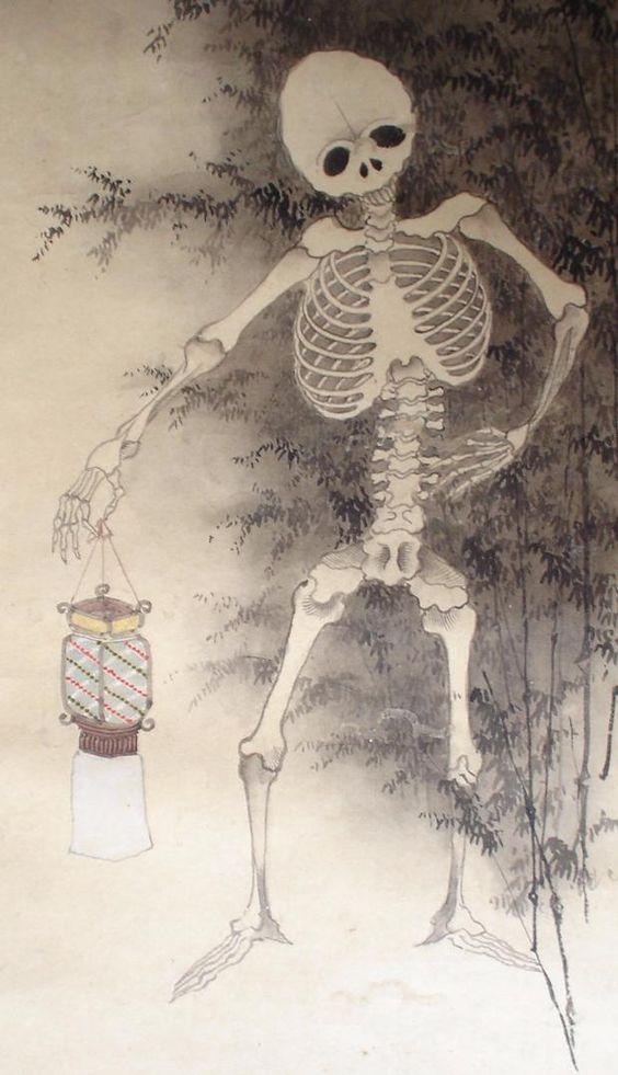月下竹林骸骨行之図