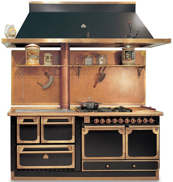 Modern Kitchen Oven: ... …black And Brass Hood Match The
