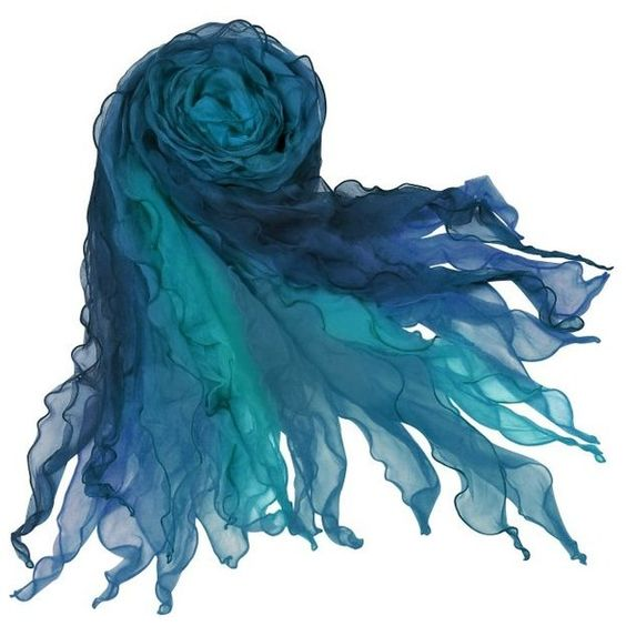 Shaded Ruffled Silk Long Scarf (€78) ❤ liked on Polyvore featuring accessories, scarves, blue, mermaid, long scarves, ruffled shawl, oblong scarves, ruffle scarves, frilly scarves and blue shawl
