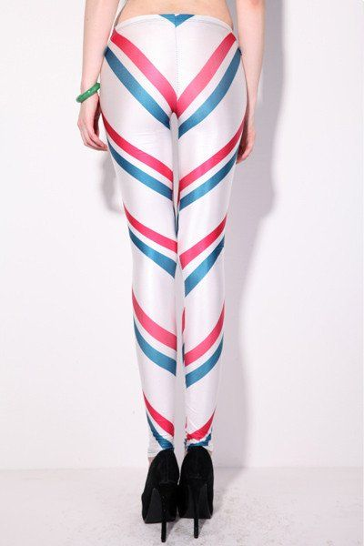Red and Blue Stripes Leggings