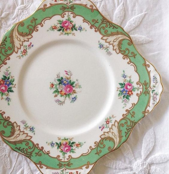 1930s Tuscan Blenheim Pattern Cake Plate ~ Made Exclusively for Lawleys of London ~ Green & Rose Floral