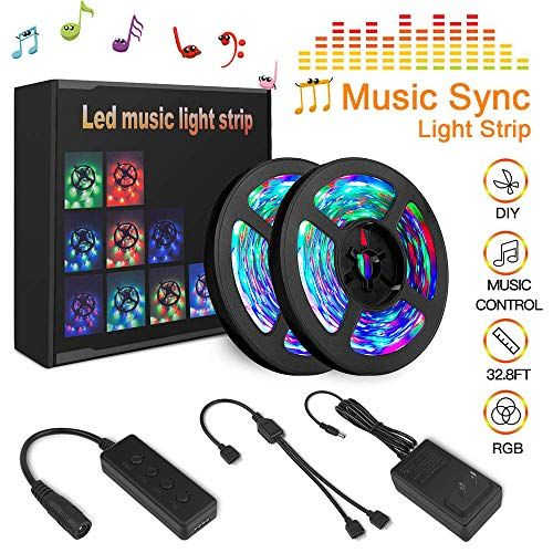 Tenmiro 32 8ft Trichromatic Rgb Sync To Music Color Changing Strips 12v 600 Unit Smd 3528 Led In 2020 Led Strip Lighting Strip Lighting Tape Lights