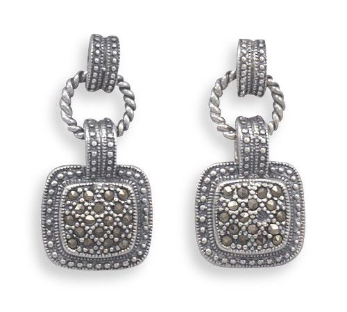 Oxidized Post Earrings with Square Marcasite Drop
