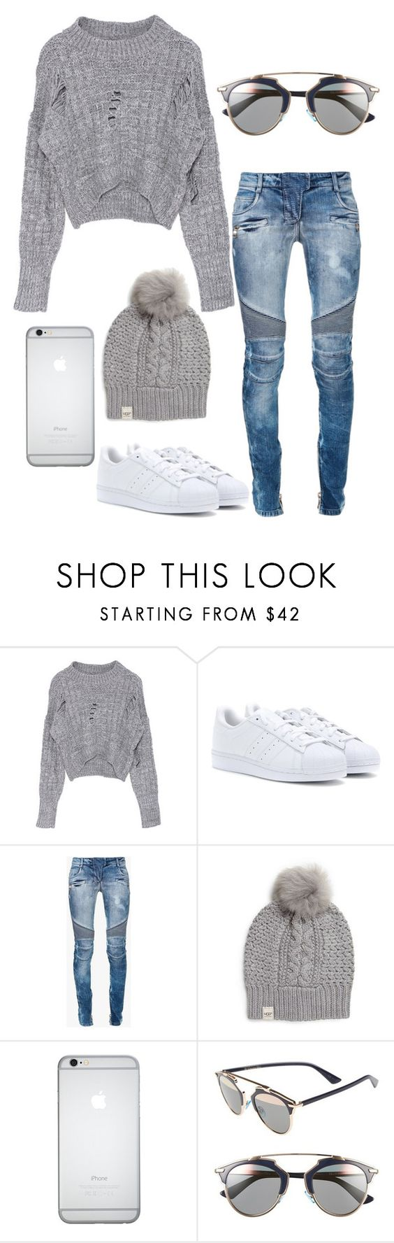 """Untitled #266"" by rayame ❤ liked on Polyvore featuring adidas, Balmain, UGG Australia and Christian Dior"