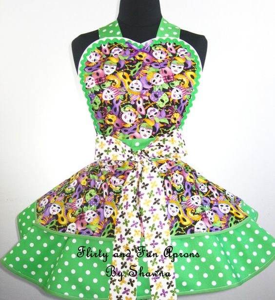Mardi Gras Mask Apron -only one left in stock
