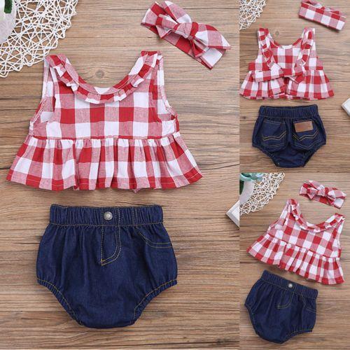 Toddler Infant Baby Girl Outfit Clothes T Shirt Tops Denim Shorts Pants 2pcs Set Ropa Bebe Nina Ropa Infantil Para Nina Moda Para Bebes