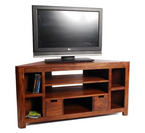 Meuble tv d 39 angle palissandre massif 5 cases d tvs and for Meuble 3 cases