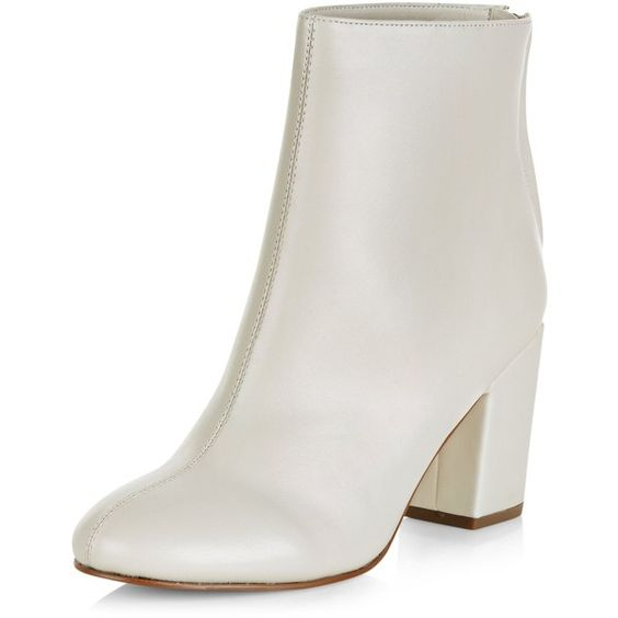 New Look Cream Leather-Look Pointed Block Heel Ankle Boots (£28