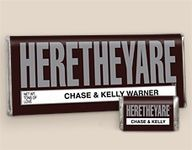 """""""HERETHEYARE"""" personalized Hershey bars!- We've seen a lot of candy bar favor ideas, but this is something different!"""