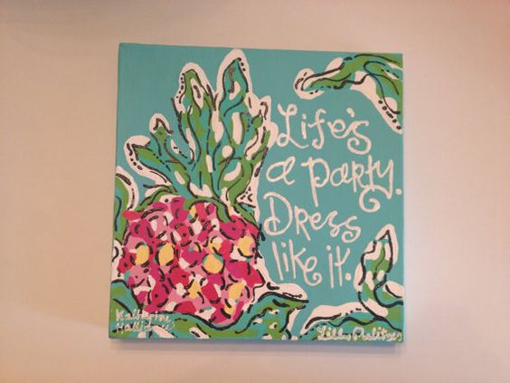 Lilly Pulitzer Inspired Pineapple by PinkPineappleShop on Etsy, $18.00