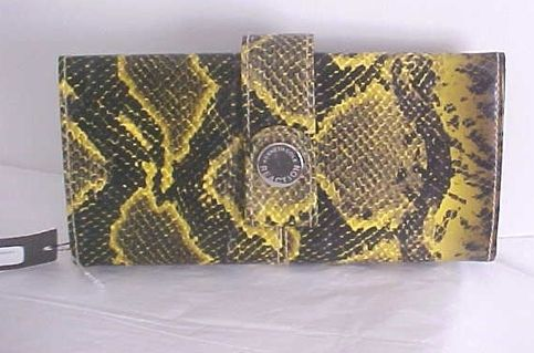 "on Sale was $60.00 now 29.00 Kenneth Cole smooth yellow/black Python look Wallet,push button closure,many card slots,sipper pocket,slip pockets,measures 7.5"" x 4"" x 1.5"" inches"