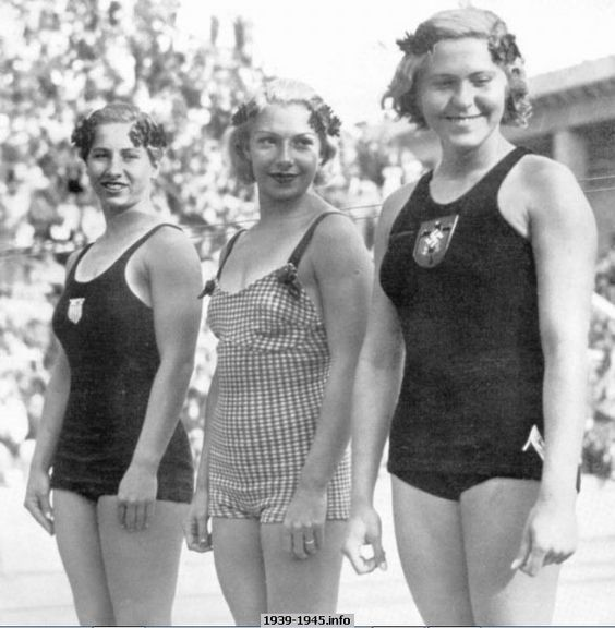 Platform Diving Champs At Olympic Games. Left to Right: ~ Velma Dunn, USA (second) ~ Dorothy Poynton Hill, USA (first) ~ Kaethe Kohler, Germany (third):