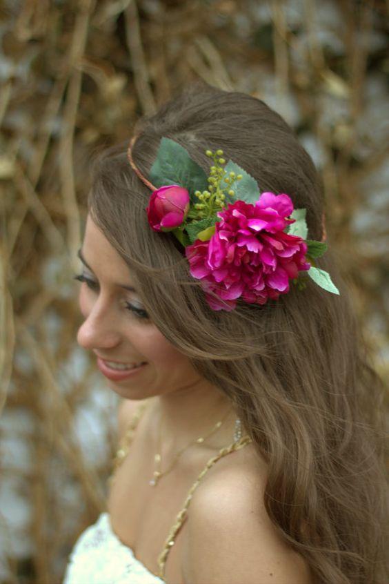 Fushia  Flower Crown - Peony, Floral Headpiece, Head Piece, Wedding Flower Crown, Woodland Wedding, Wedding Flower Headpiece, Garden Rose AU$76.09: