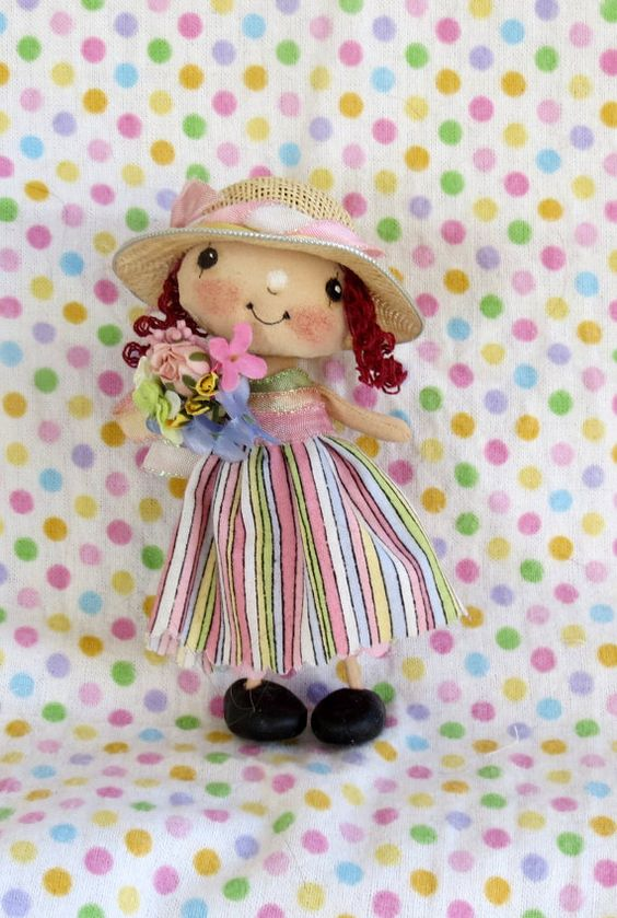 OOAK Doll, Hand Painted Cloth Doll , Hand made girl doll , Collectable Doll ,