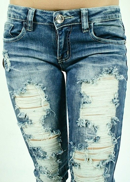 Details about NWT MACHINE JEANS DESTROYED RIPPED DISTRESSED WOMENS