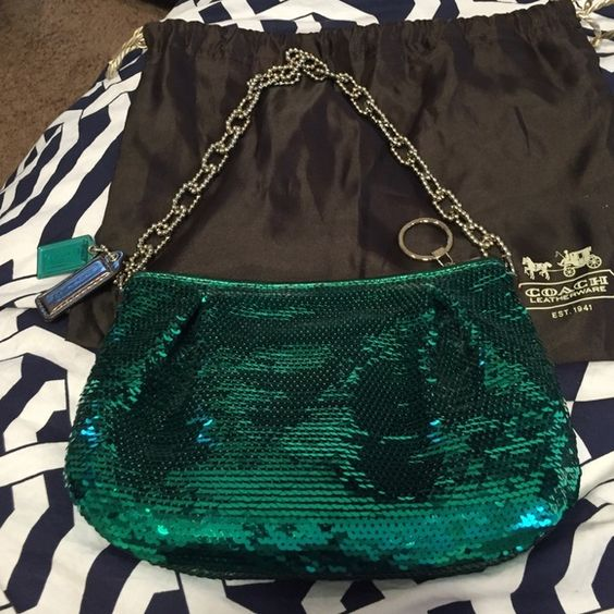 Gorgeous Authentic COACH bag. NWT. Dust bag inc. Green sequin AUTHENTIC Coach bag. NWT. Gorgeous! Silver hardware. Dust bag included. Coach Bags Clutches & Wristlets