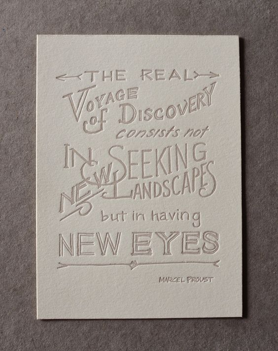 Hand-lettered letter-pressed Proust by the Almanac Industries.