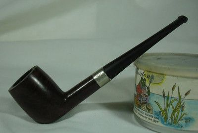 Silver King Billiard Algerian Briar Tobacco Pipe Hallmark Sterling Silver Band