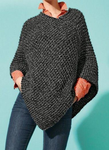 poncho court tricot tricoter en 2 rectangles avec explications avec de la laine pinterest. Black Bedroom Furniture Sets. Home Design Ideas