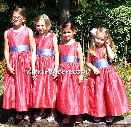 Azalea Pink and Blue Moon silk flower girl dresses - Pegeen Classic Style 398