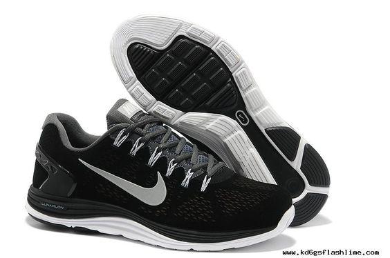 Mens Nike LunarGlide 5 Suede Black Grey Silver Shoes Cheap