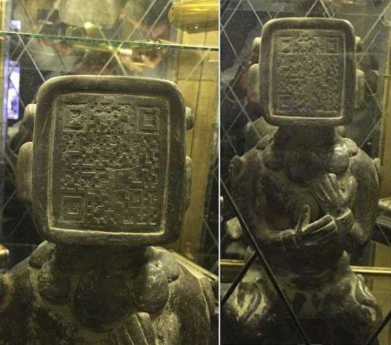 Oude Maya standbeeld is Code op het gezicht, Mogelijke Waring Of Things To Come: