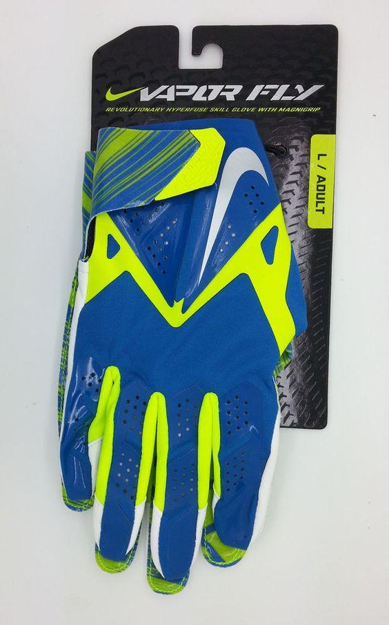 NIKE VAPOR FLY HYPERFUSE MAGNIGRIP LIME/BLUE GLOVES PAIR (LARGE) -- NEW #Nike