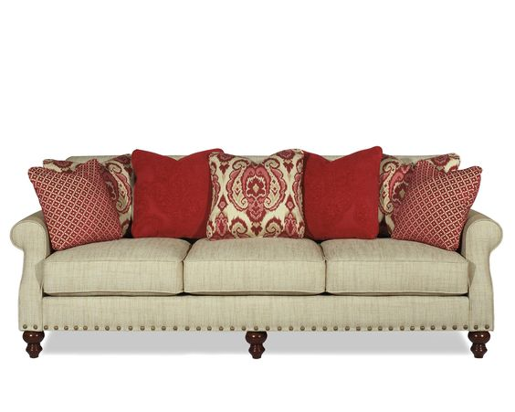 Great neutral sofa with red pillow b8248 pillow sofa by - Better homes and gardens pillows ...