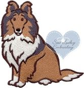 Sheltie Embroidered Applique Patch: