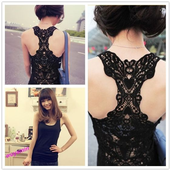 Sexy Black Crochet Lace Back Tank Top Sleeveless Vest Cami Hollow-out Pierced