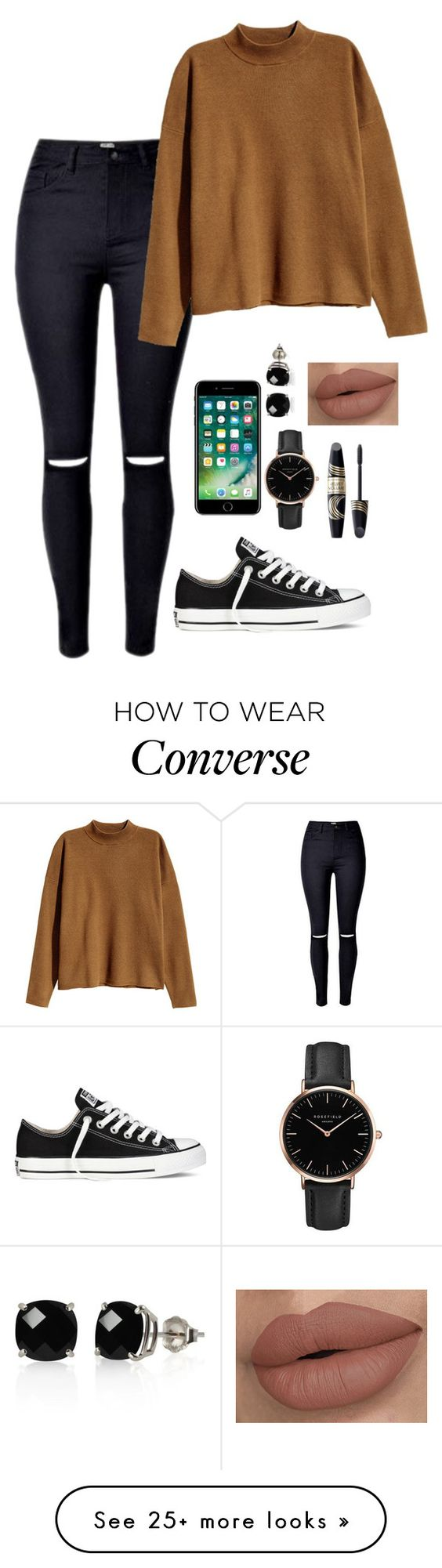"""""""'Dinner With David' - Mariana"""" by briquel13287 on Polyvore featuring H&M, Converse, Topshop, Belk & Co. and Max Factor"""