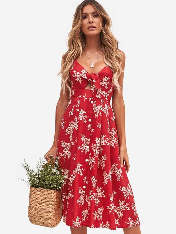 DressLily.com: Photo Gallery - Knot Front Floral Print Dress