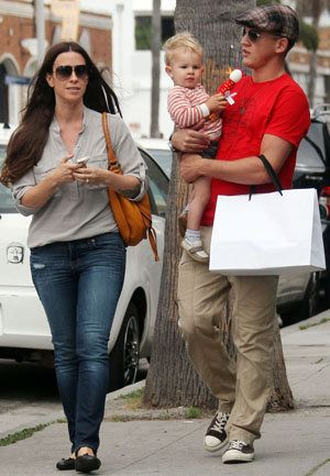 Alanis Morissette with her husband and son